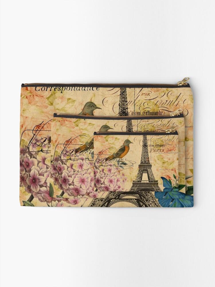 Alternative Ansicht von Vogel-Schmetterlingsmode des Vintagen Eiffelturms Blumen Täschchen