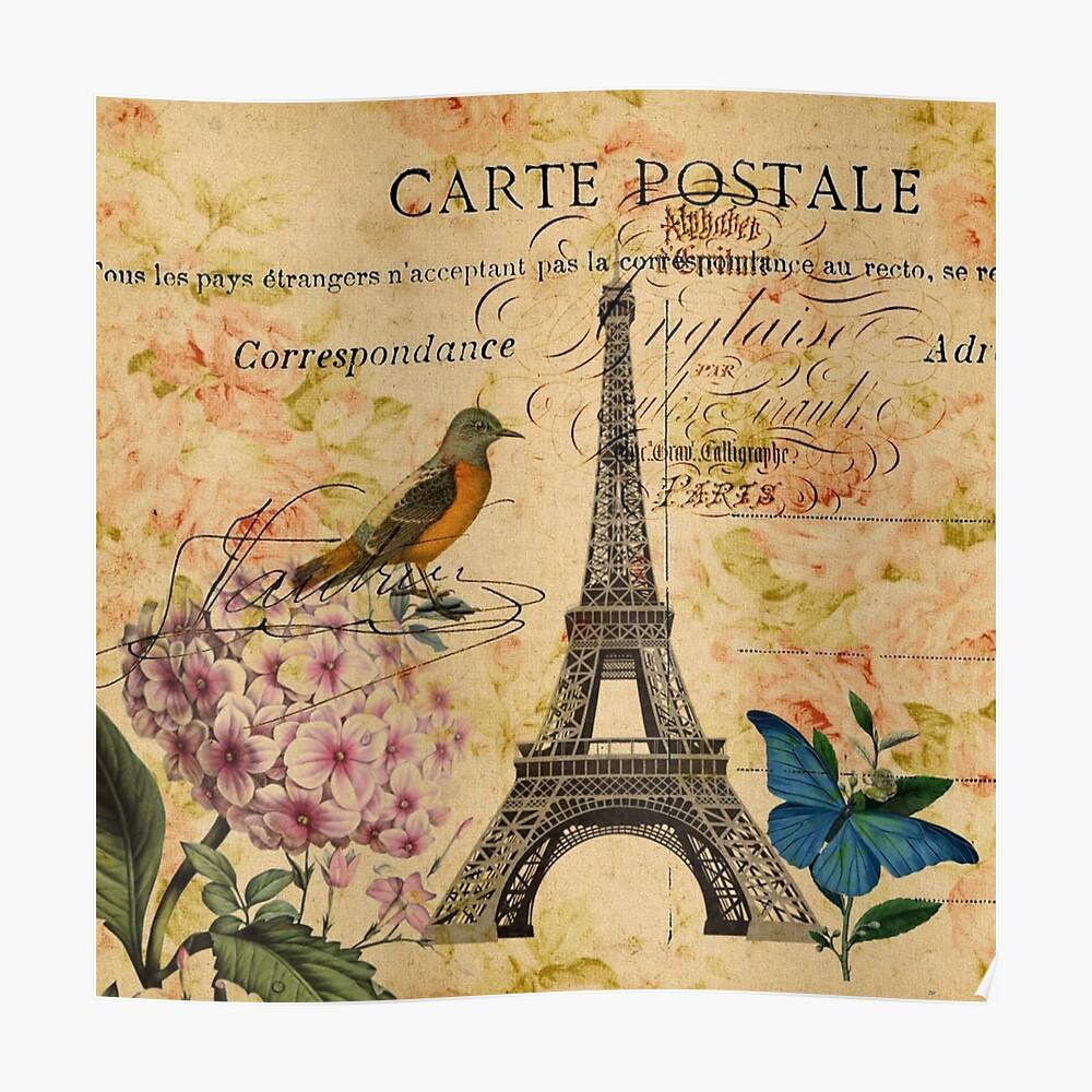 Vogel-Schmetterlingsmode des Vintagen Eiffelturms Blumen Poster