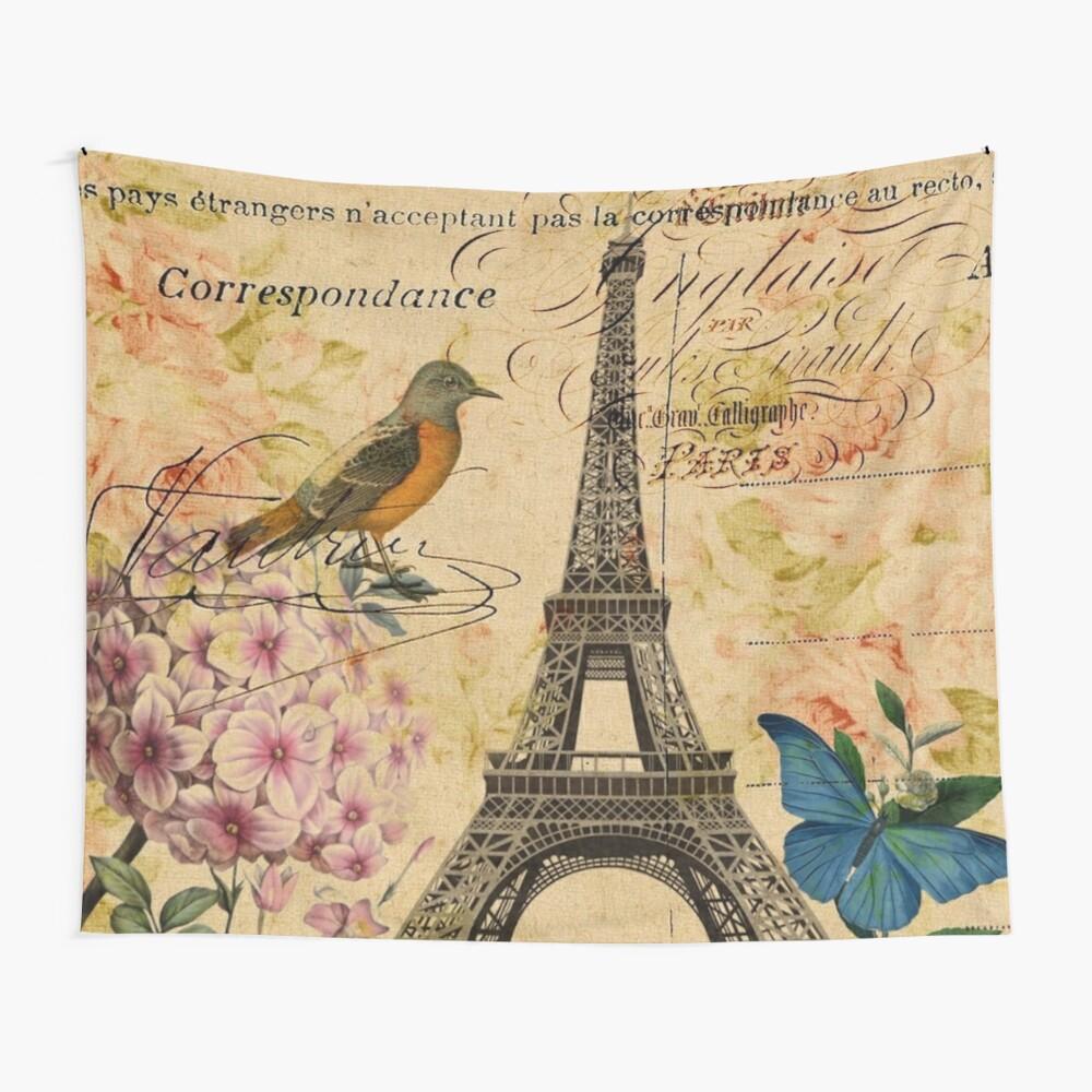 Vogel-Schmetterlingsmode des Vintagen Eiffelturms Blumen Wandbehang