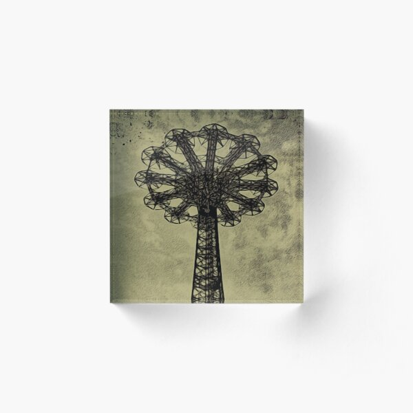 Coney Island Lovers - Bare Bones Parachute Art Photo - Brooklyn Gift Acrylic Block