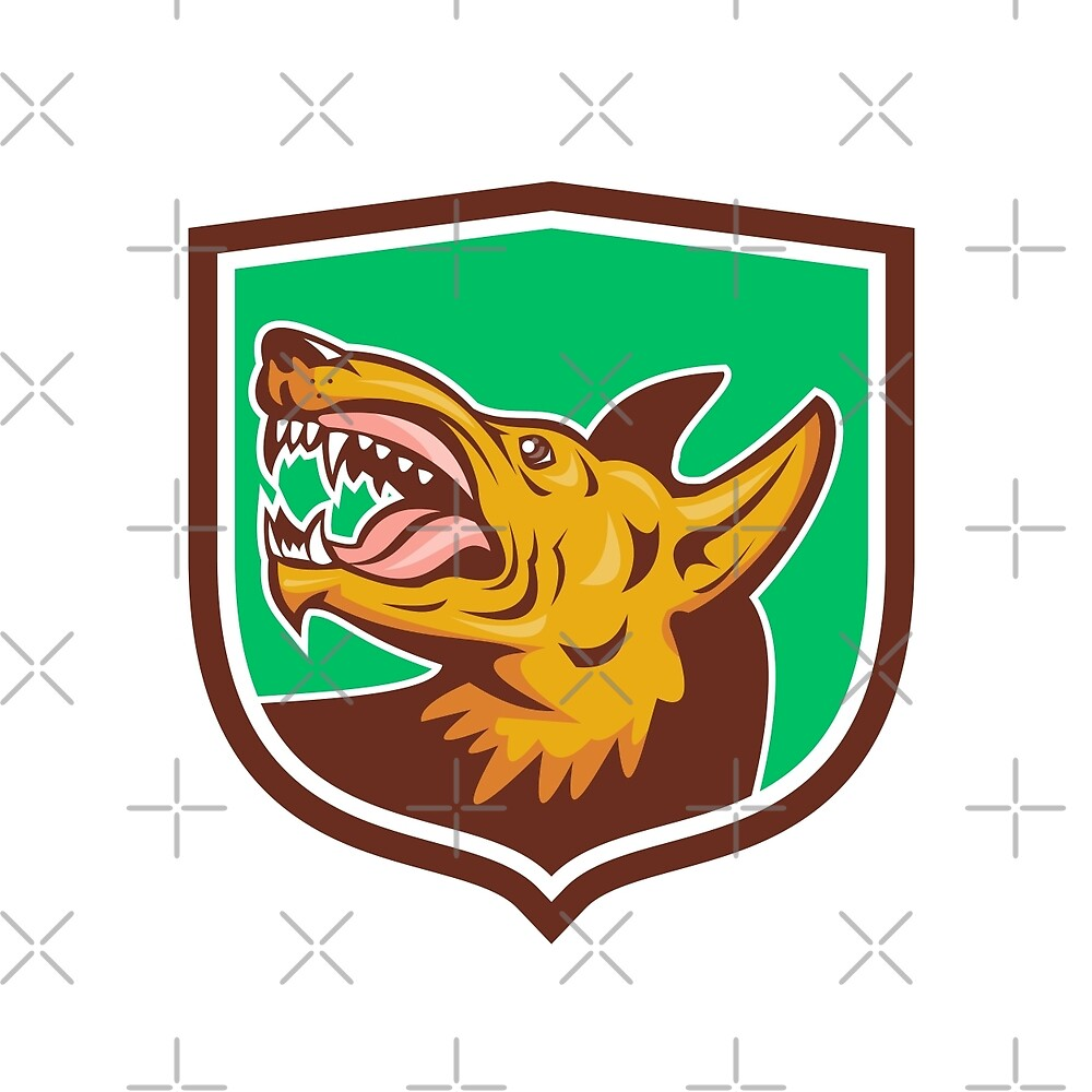 Angry Wild Dog Fangs Side Shield Retro by patrimonio