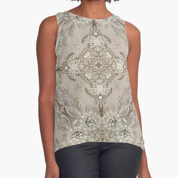 vintage Rhinestone pearl glamorous beige  lace Sleeveless Top