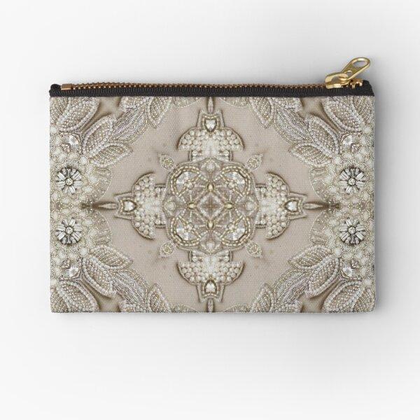 vintage Rhinestone pearl glamorous beige  lace Zipper Pouch
