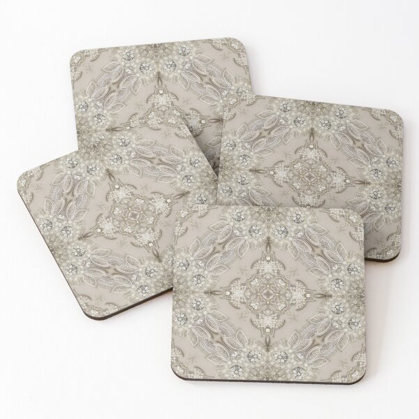 vintage Rhinestone pearl glamorous beige  lace Coasters (Set of 4)