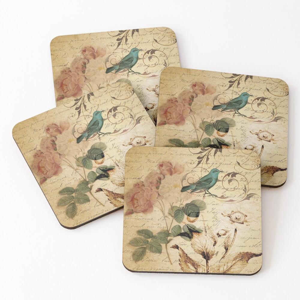 modern vintage rose bird paris french botanical art Coasters (Set of 4)