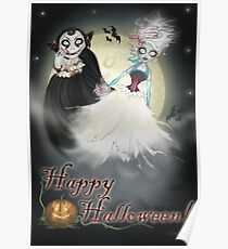 Happy Halloween Vampire and Ghost Poster