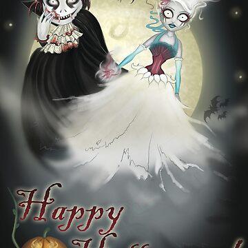 Happy Halloween Vampire and Ghost by HelenAimee