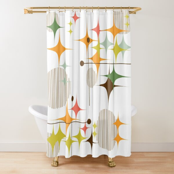 Eames Era Starbursts and Globes 3 Shower Curtain