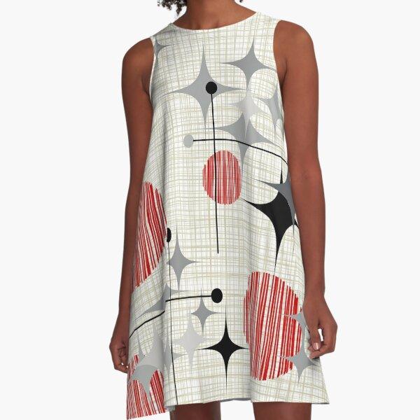 Eames Era Starbursts and Globes 2 (Bkgrnd) A-Line Dress