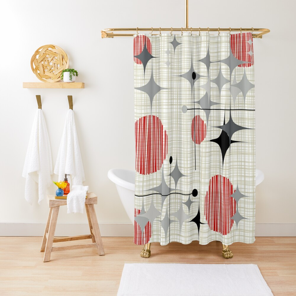Eames Era Starbursts and Globes 2 (Bkgrnd) Shower Curtain