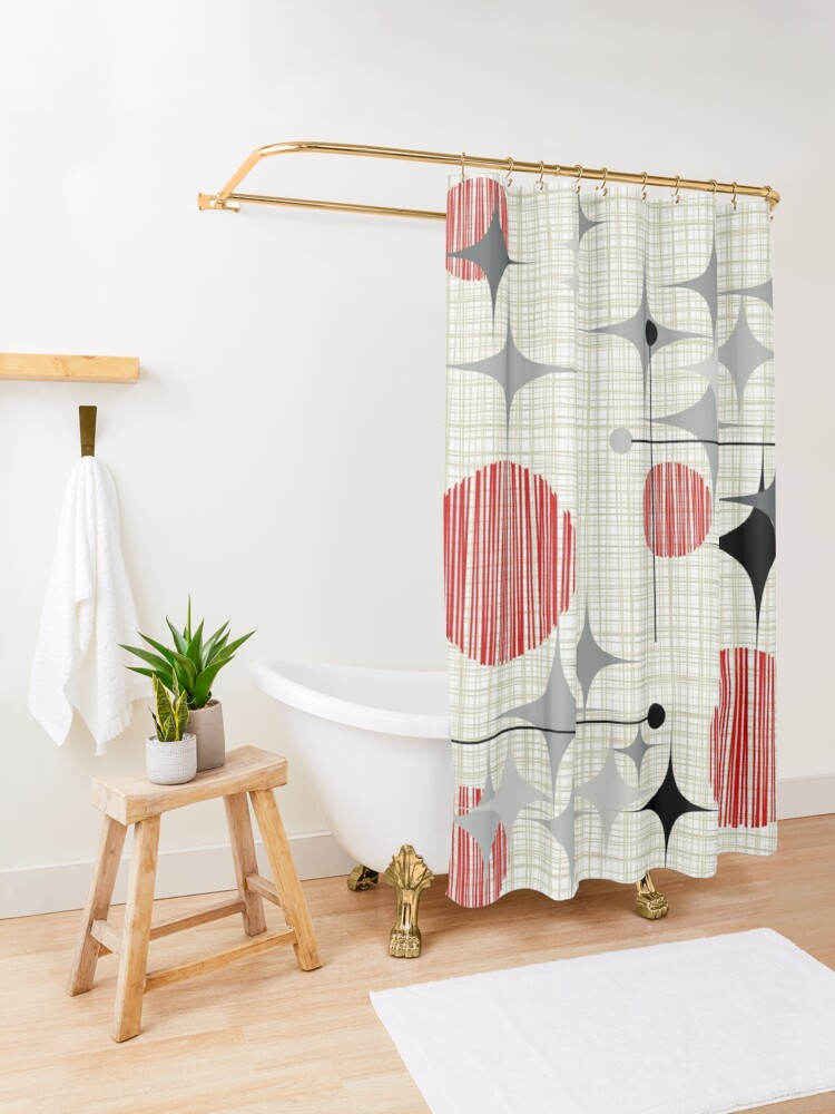 Alternate view of Eames Era Starbursts and Globes 2 (Bkgrnd) Shower Curtain