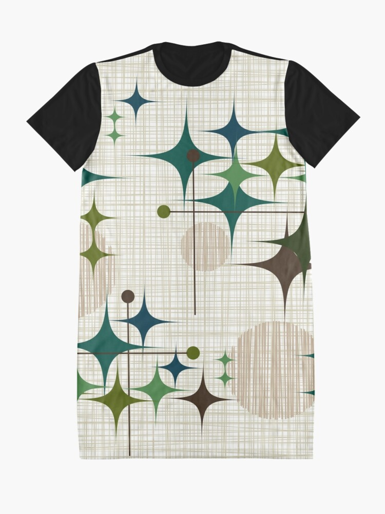 Alternate view of Eames Era Starbursts and Globes 1 (bkgrnd) Graphic T-Shirt Dress