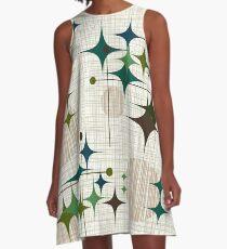 Eames Era Starbursts and Globes 1 (bkgrnd) A-Line Dress