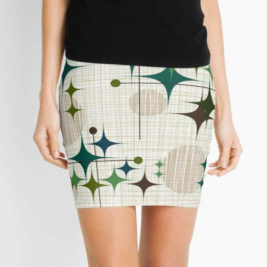 Eames Era Starbursts and Globes 1 (bkgrnd) Mini Skirt
