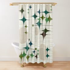 Eames Era Starbursts and Globes 1 (bkgrnd) Shower Curtain