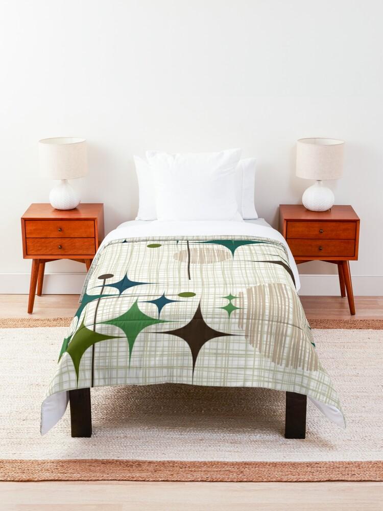 Alternate view of Eames Era Starbursts and Globes 1 (bkgrnd) Comforter