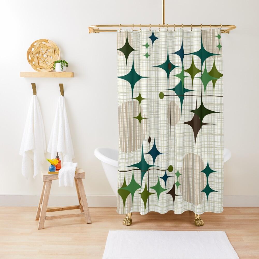 Eames Era Starbursts and Globes 1 (bkgrnd) Shower Curtain