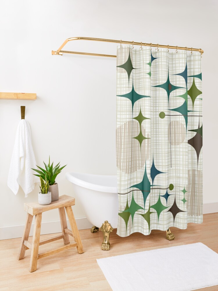 Alternate view of Eames Era Starbursts and Globes 1 (bkgrnd) Shower Curtain