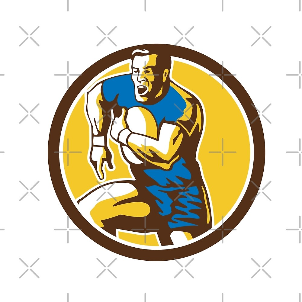 Rugby Player Running Goose Steps Circle Retro by patrimonio