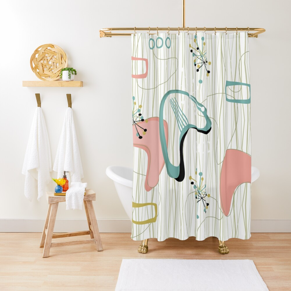 Retro Eames-Era Atomic Inspired 3 Shower Curtain