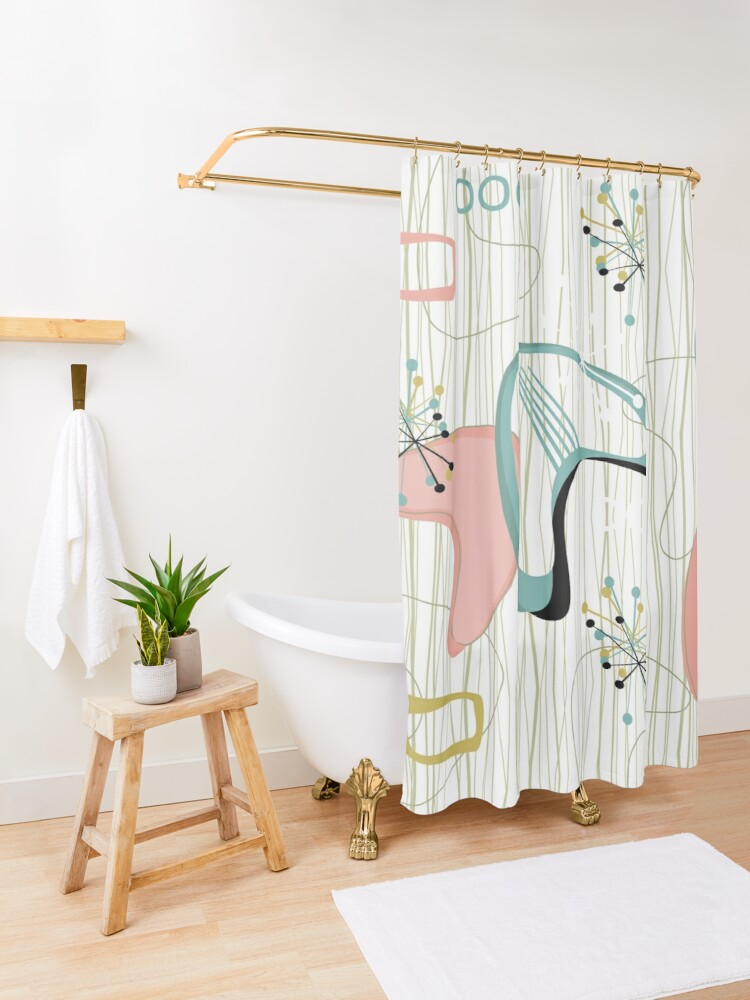 Alternate view of Retro Eames-Era Atomic Inspired 3 Shower Curtain