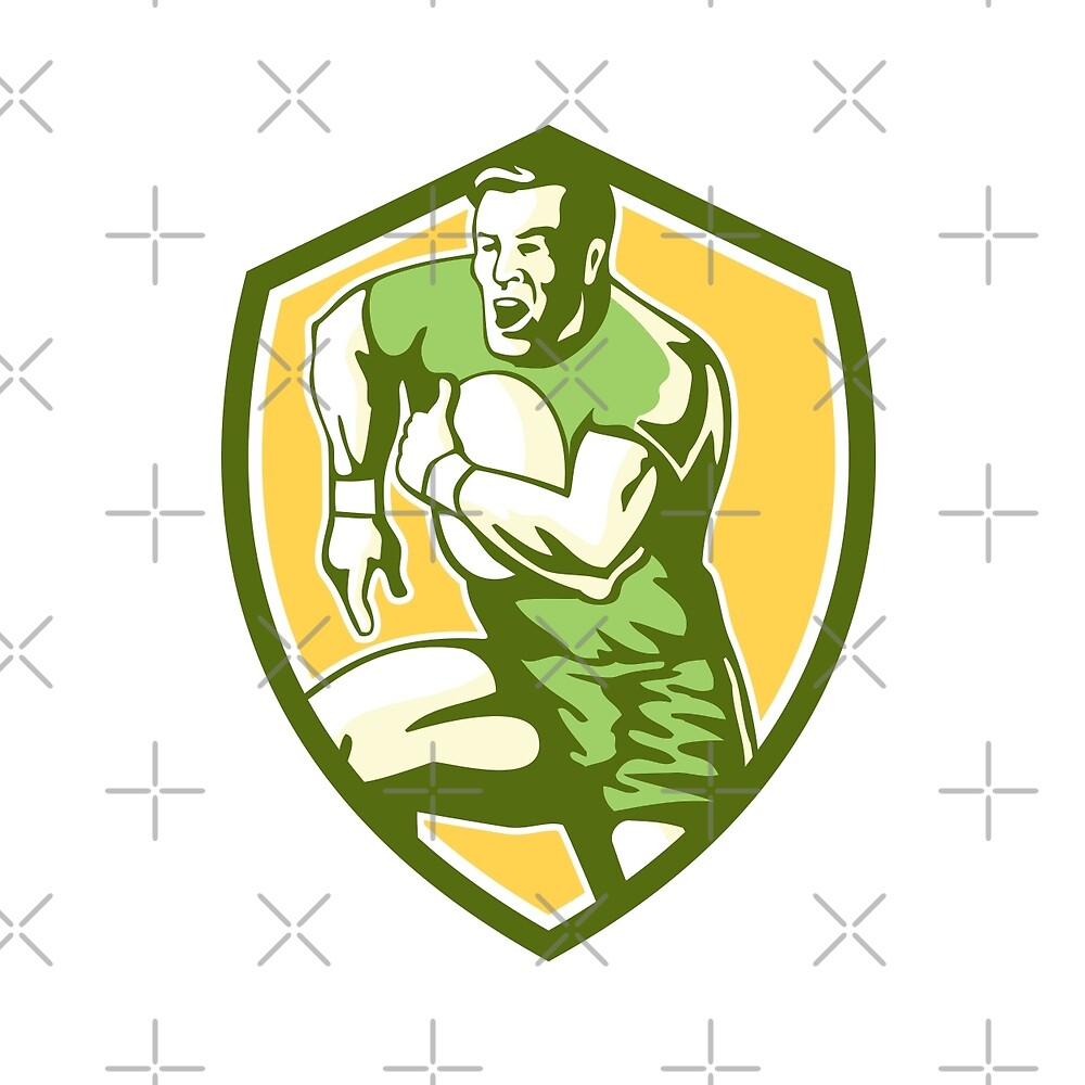 Rugby Player Running Goose Steps Shield Retro by patrimonio
