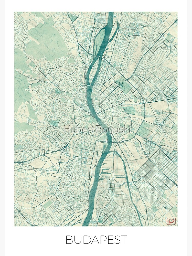 Budapest Map Blue Vintage by HubertRoguski