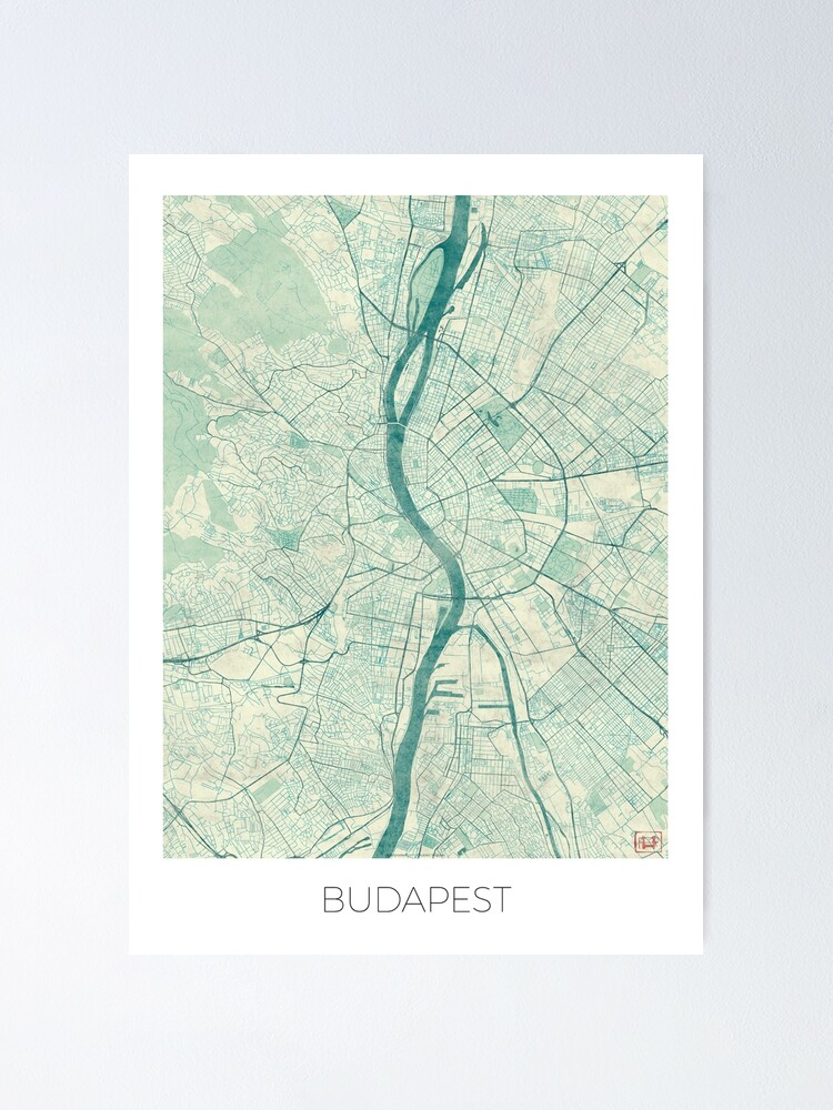 Alternate view of Budapest Map Blue Vintage Poster