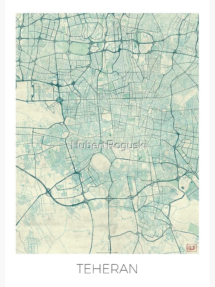 Teheran Map Blue Vintage by HubertRoguski
