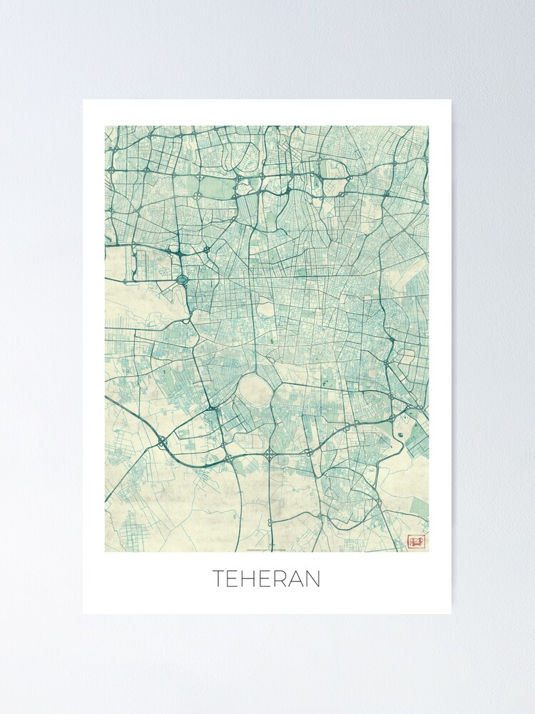 Alternate view of Teheran Map Blue Vintage Poster