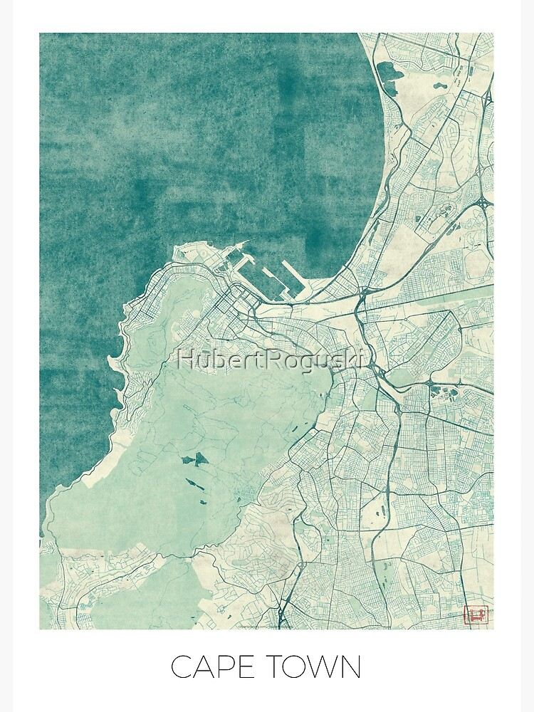 Cape Town Map Blue Vintage by HubertRoguski
