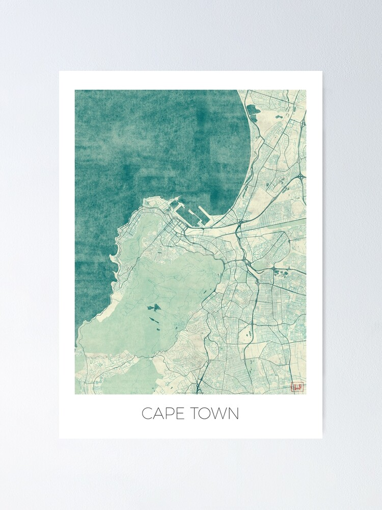 Alternate view of Cape Town Map Blue Vintage Poster