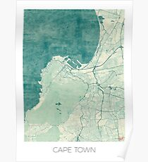 Cape Town Map Blue Vintage Poster
