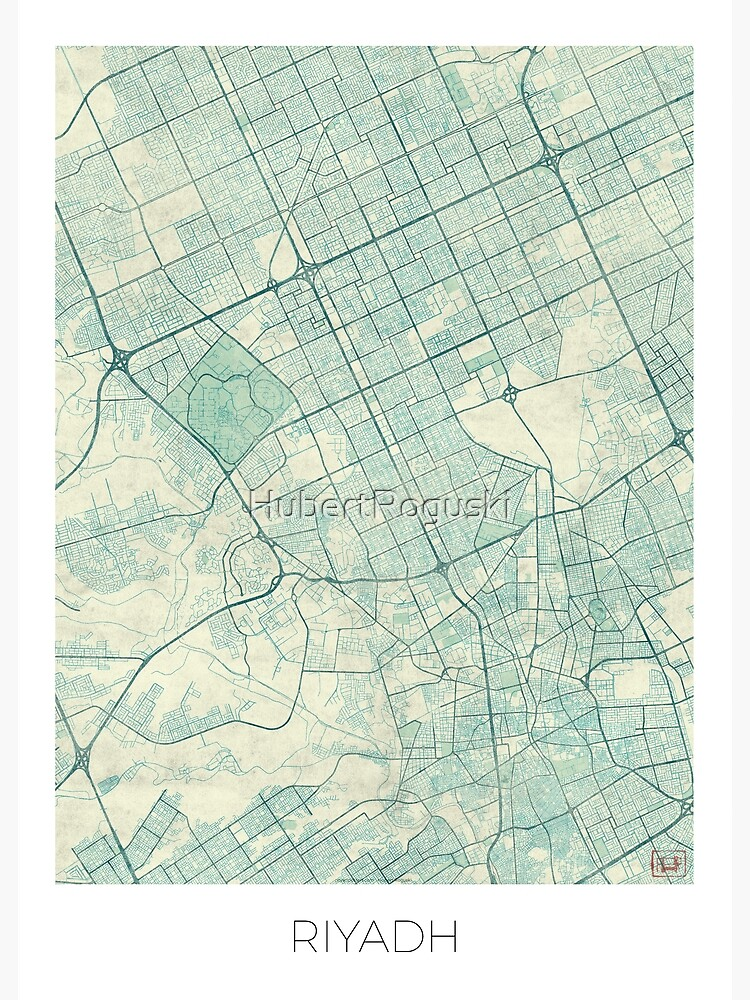 Riyadh Map Blue Vintage by HubertRoguski
