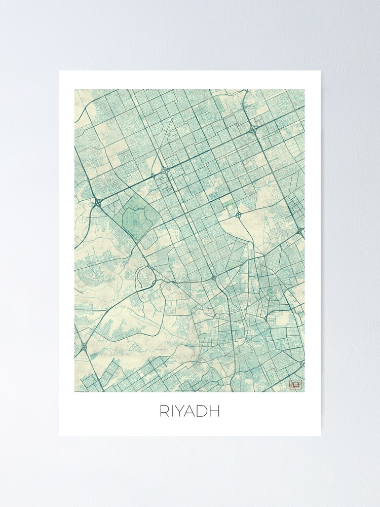 Alternate view of Riyadh Map Blue Vintage Poster