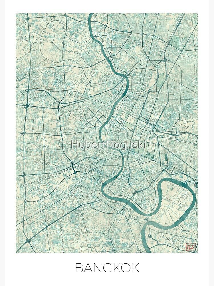 Bangkok Map Blue Vintage by HubertRoguski