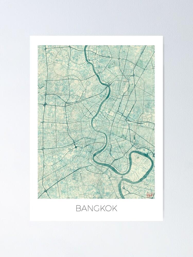 Alternate view of Bangkok Map Blue Vintage Poster