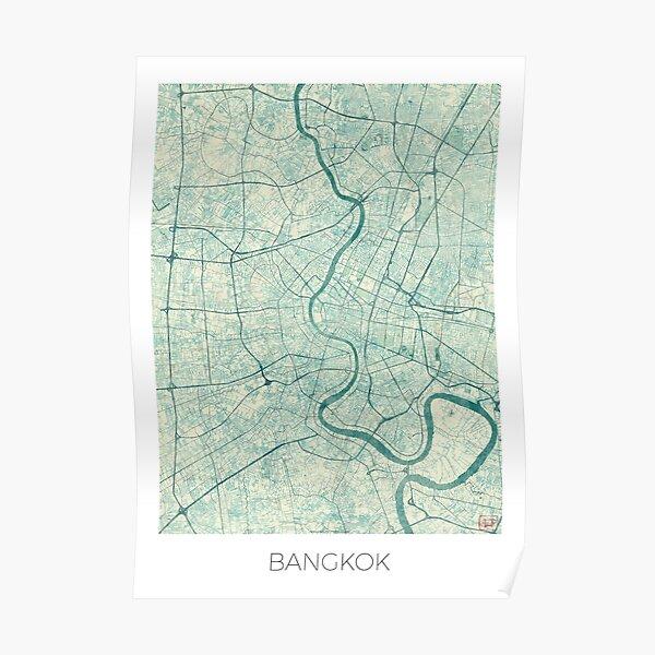 Bangkok Map Blue Vintage Poster