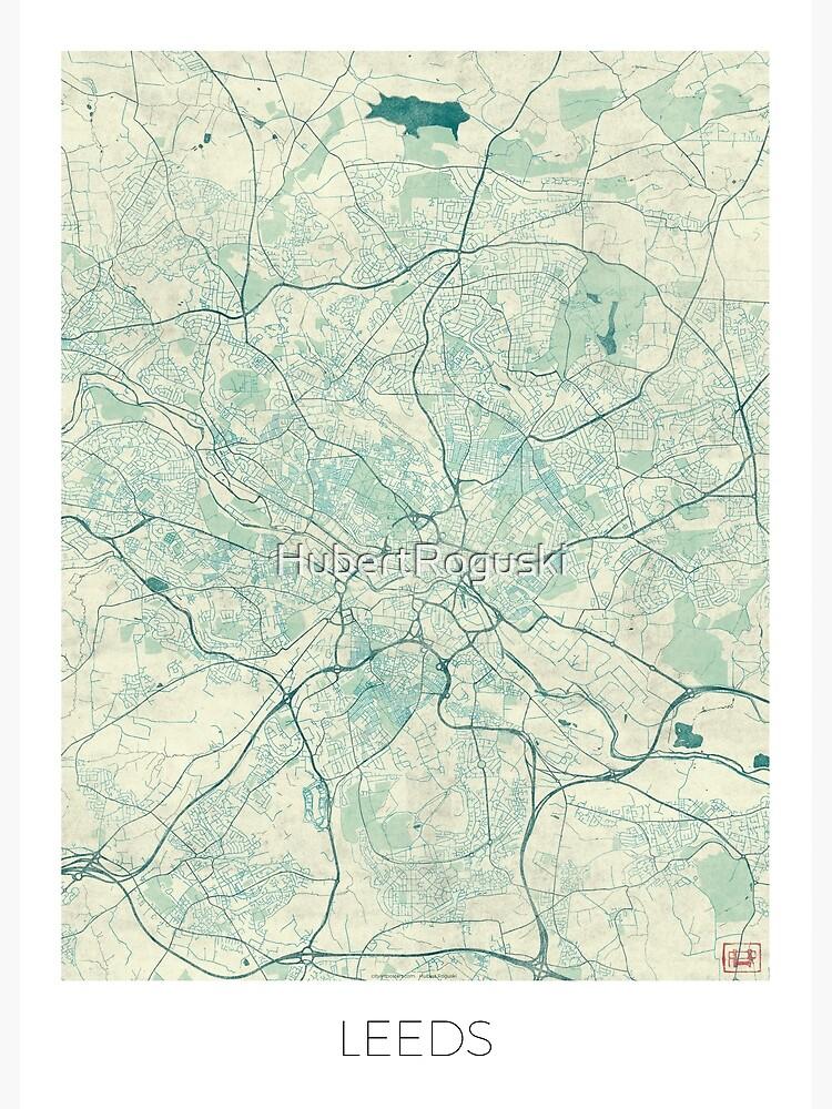 Leeds Map Blue Vintage by HubertRoguski