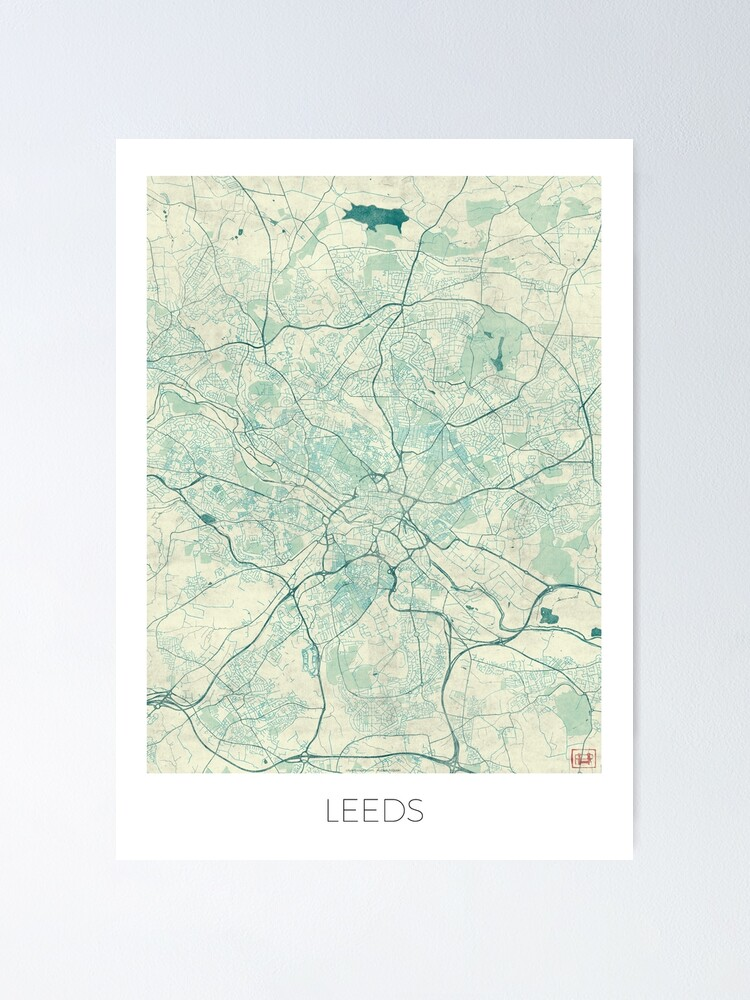 Alternate view of Leeds Map Blue Vintage Poster