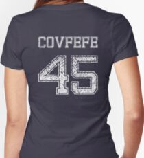 Covfefe 45 Funny Sports Style Trump Joke Women's Fitted V-Neck T-Shirt