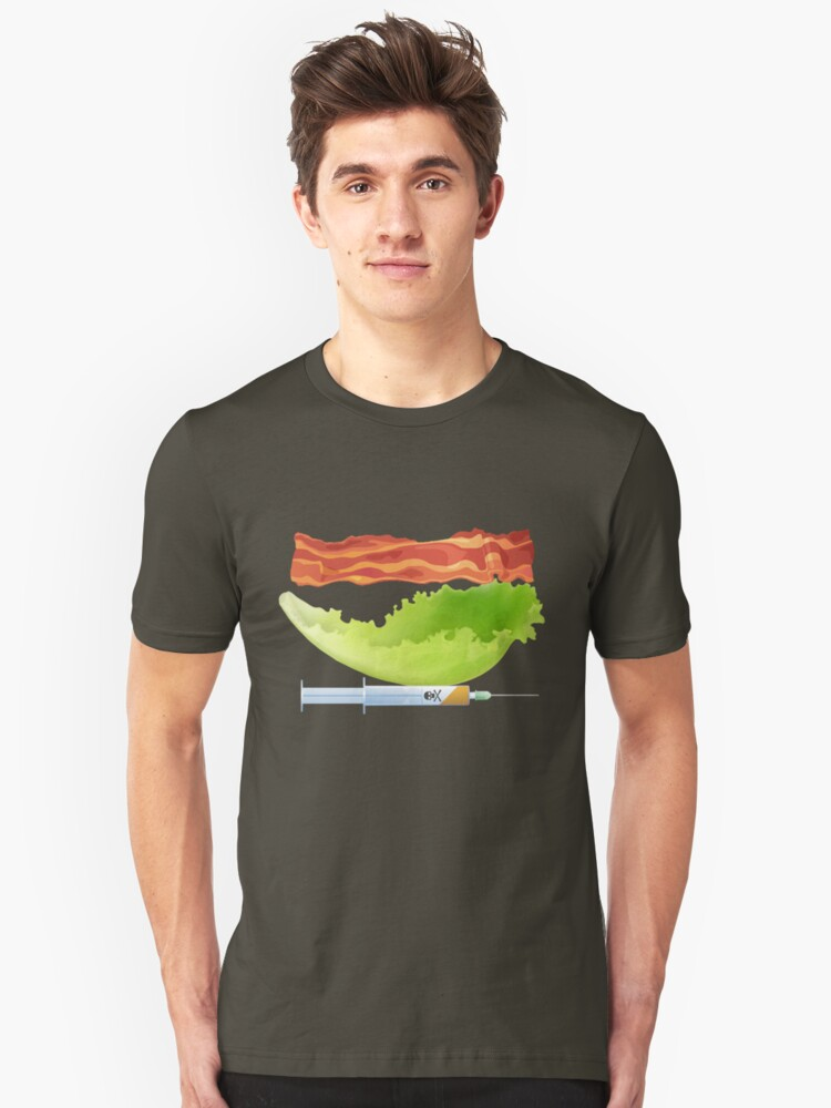 Bacon, Lettuce, and Testosterone Unisex T-Shirt Front