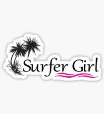 SURFER GIRL SURFING BEACH OCEAN CALIFORNIA HAWAII FLORIDA HUNTINGTON NEWPORT MALIBU PINK Sticker