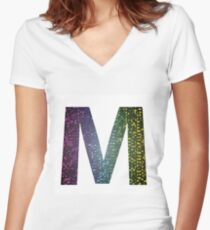 letter M of different colors Women's Fitted V-Neck T-Shirt