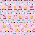 Trendy Multi-Color Owls on a Branch - Pink by JessDesigns