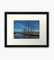 Sailing ship at the pier Framed Print