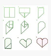 Origami Heart Folding Photographic Print