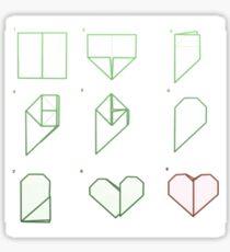 Origami Heart Folding Sticker
