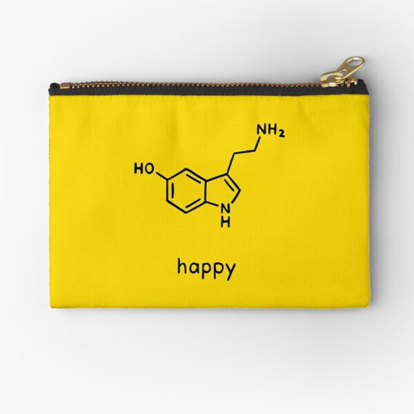 Happy Serotonin Molecule Chemistry Science Zipper Pouch