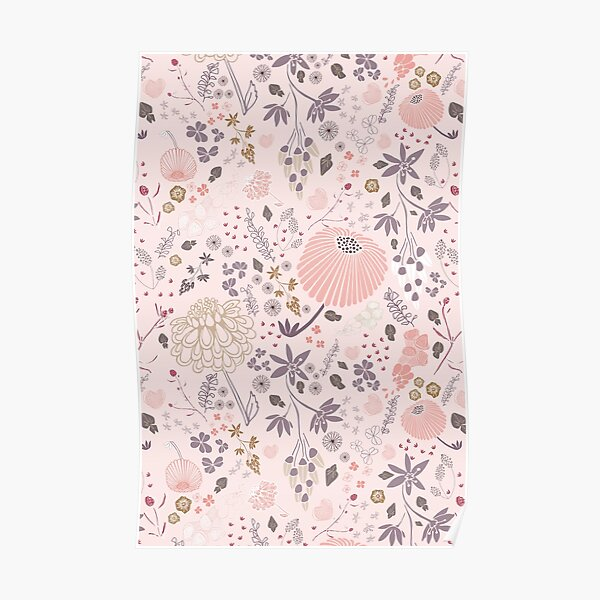 Field of Flowers in Pink and Purple Poster